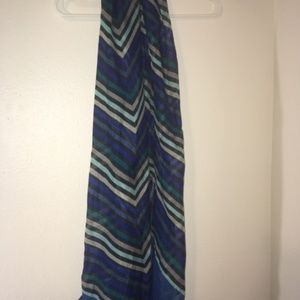 Blue and Black Multi-Striped Scarf
